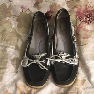 Black leopard print Sperry Boat Shoes